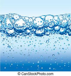 water, met, het fonkelen, bellen, en, schuim