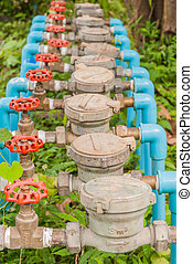 Water Meter and Red Valve