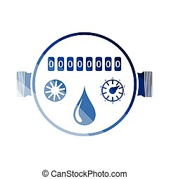 Water meter icon. Flat color design. Vector illustration.
