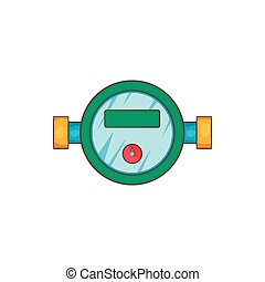Water meter icon in cartoon style