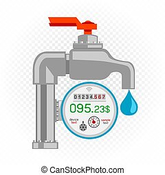 Water meter icon with faucet counter and debt amount on white transparent background