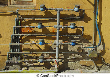 meters - Water meters of an old building