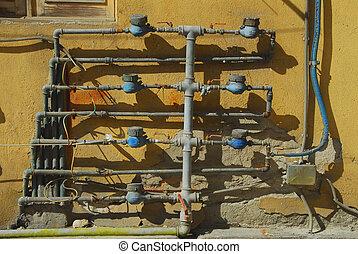 Water meters of an old building