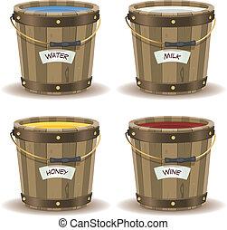 Water, Milk, Honey And Wine Inside Wood Bucket -...