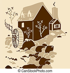 Water-mill - water mill surrounded by nature,...