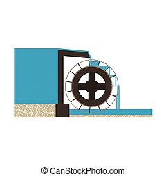 water mill illustration EPS10 - Principle of the water wheel...