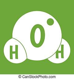 Water molecule icon green