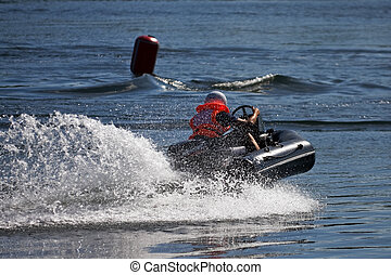 Motorboat at water-motor sport competitions