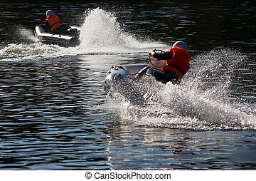 Water-motor sport - Motorboat at water-motor sport...