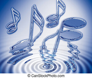 Water music - Chrome semi-quavers emerging from water ripple...