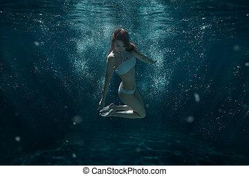 water., nada, mulher, swimsuit, sob