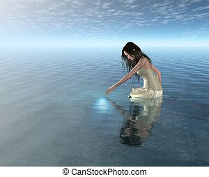 Water Nymph looking at her reflection in a calm lake, 3d digitally rendered illustration