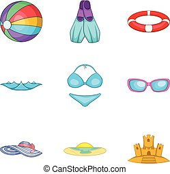Water occupation icons set, cartoon style