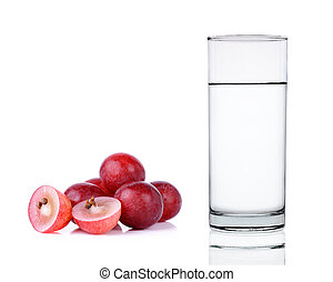 Water of glass with grape isolated on the white background