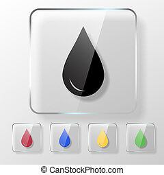 Water, oil or blood drop icon on a transparent glossy...
