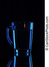 water on a glass on dark background.