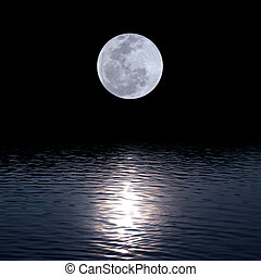 water, op, volle maan
