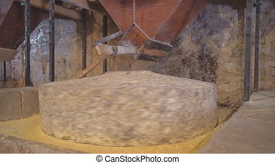 Water operated mill stone for corn flour.