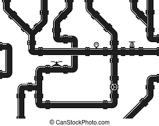 Water or gas pipeline, plumbing with valves and pipe fittings. Abstract industrial vector background