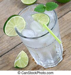 Water or lemonade drink with ice - Cold water or lemonade ...