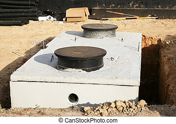 Water or septic storage tank - New construction showing a...