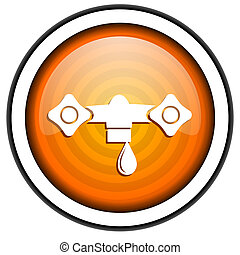 water orange glossy icon isolated on white background