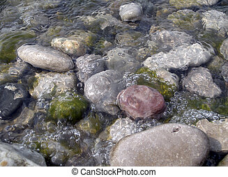 Water Over Stones - Water washing over stones in the Detroit...