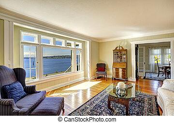 water, overzicht., antieke , echte, meubel, levend, elegant, kamer