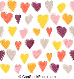 Water painted heart seamless pattern. White isolated vector background, wall paper.