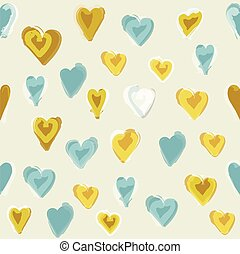 Water painted heart seamless pattern. White isolated vector...