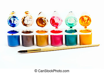 water paints set and brush