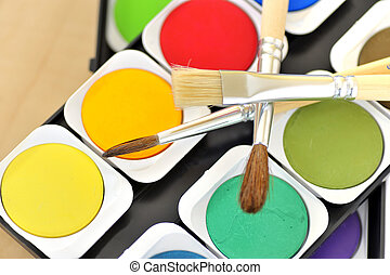 water paints set and brushes