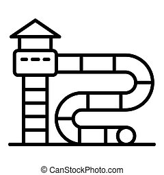 Water park slide icon, outline style