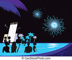 People in night pool. Vector illustration in retro style. Fireworks and hotel complex in background.