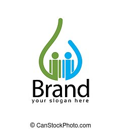 Water people logo template, colorful people. Vector Illustration on white background