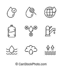 water, pictogram, symbool., lijn, vector, style., mager, set