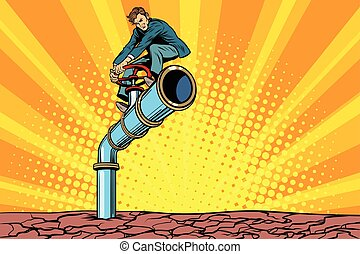 Water pipe during a drought, retro businessman on the tube