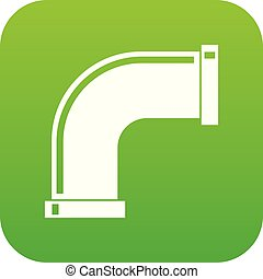 Water pipe icon digital green