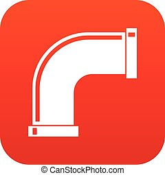 Water pipe icon digital red