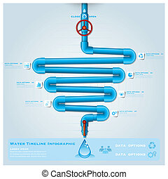 Water Pipe Timeline Business Infographic Design Template