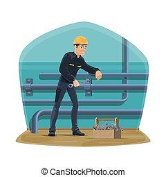 Water pipeline plumbing service plumber worker