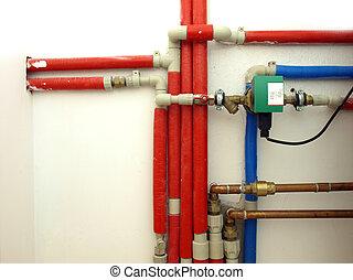 Water pipeline - Basement: water pipeline in a boiler room