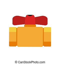 Water pipeline with a valve on white background. Vector illustration in trendy flat style. EPS 10.