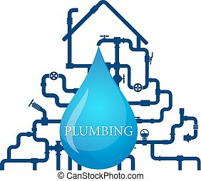 Water pipes and house vector