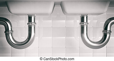 Water pipes under double sink. 3d illustartion - Water pipes...