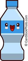 Water Plastic Bottle Cartoon Kawaii Character Vector Isolated On White Background Flat design Vector Illustration