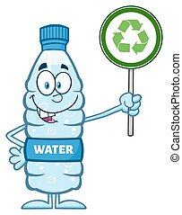 Water Plastic Bottle Cartoon Mascot Character Holding Up A...