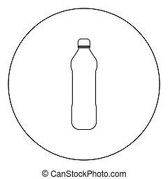 Water plastic bottle  icon black color in circle or round