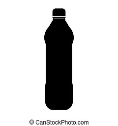 Water plastic bottle the black color icon .