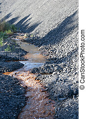 Water pollution and coal mining waste pile